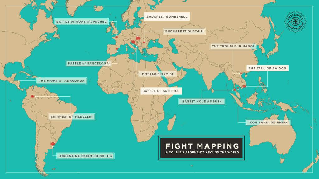 A map of a couples fights while traveling around the world.